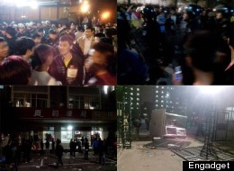 Pictures uploaded to Chinese social media sites of the alleged brawl