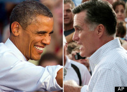 In these Aug. 2012 file photos, President Barack Obama and Republican presidential candidate, former Massachusetts Gov. Mitt Romney, right, campaign in swing states, Obama in Leesburg, Va., and Romney in Waukesha, Wis. (AP Photos)