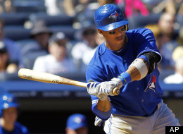 Toronto Blue Jays' Yunel Escobar (5) hits a two run-home run in the sixth inning against the New York Yankees in a baseball game, Wednesday, Aug. 29, 2012 at Yankee Stadium in New York. (AP Photo/Rich Schultz)