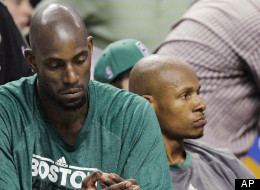 Boston Celtics' Kevin Garnett, left, and Ray Allen sit on the bench near the end of the fourth quarter in Game 6 of the NBA basketball Eastern Conference finals against the Miami Heat, Thursday, June 7, 2012, in Boston. Miami won 98-79. (AP Photo/Elise Amendola)