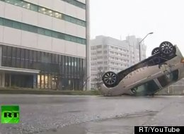 Typhoon Jelawat slammed southern and western Japan on Sunday. In this still from footage submitted to RT, a different vehicle has been overturned by the super storm.