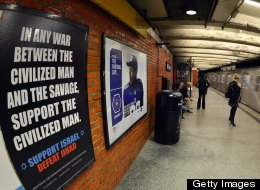 "An ad in New York Subway saying'In any war between the civilized man and the savage, support the civilized man. Support Israel. Defeat Jihad "" in New York on September 24, 2012. The defeat Jihad' ad, is the work of the Pamela Geller–led group American Freedom Defense Initiative. (Photo by TIMOTHY A. CLARY/AFP/Getty Images)"