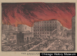 The Race for life over Randolph Street Bridge during the Great Chicago Fire of 1871. (Kellogg & Bulkeley. Lithograph, c. 1872.)