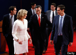 Republican presidential candidate, former Massachusetts Gov. Mitt Romney (C) along with his family (L-R) Craig Romney, wife Ann Romney, Matt Romney, Tagg Romney and Josh Romney, walk off stage after the Presidential Debate at the University of Denver on October 3, 2012 in Denver, Colorado.