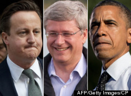 Canadians are three times more bullish about their own economy than Americans and seven times more than residents of the United Kingdom, according to a new poll from Angus-Reid. This is one reason Stephen Harper is better positioned than either Barack Obama or David Cameron. (AFP/Getty Images/CP)