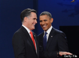 US President Barack Obama (R) greets Republican presidential candidate Mitt Romney (L) following the first presidential debate at Magness Arena at the University of Denver in Denver, Colorado, October 3, 2012.(SAUL LOEB/AFP/GettyImages)