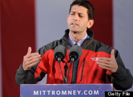 Republican presidential candidate, former Massachusetts Gov. Mitt Romney (L) and Republican vice presidential candidate, U.S. Rep. Paul Ryan (R-WI) speak on stage at a rally on October 12, 2012 in Lancaster, Ohio. (Photo by Jamie Sabau/Getty Images)