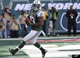 New York Jets running back Shonn Greene celebrates after scoring a touchdown during the second half of an NFL football game against the Indianapolis Colts Sunday, Oct. 14, 2012 in East Rutherford, N.J. The Jets won the game 35-9.