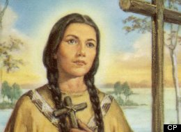 Fleeing persecution, Kateri Tekakwitha settled in Quebec, where she devoted her life to God. Date: 1656 - 1680 (CP, Source: Prayer card)