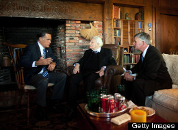 Republican presidential nominee Mitt Romney meets with the Rev. Billy Graham (middle) and the Rev. Franklin Graham in Montreat, N.C., last week.