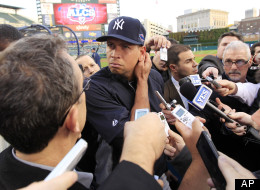 New York Yankees' Alex Rodriguez listens to a question from the media before Game 4 of the American League championship series against the Detroit Tigers Wednesday, Oct. 17, 2012, in Detroit.