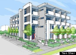 This is a drawing of plans to build a four-storey building with 56-micro-condo units in Surrey, B.C. (Tien Sher)