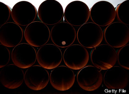 CUSHING, OK - MARCH 22: Pipe is stacked at the southern site of the Keystone XL pipeline on March 22, 2012 in Cushing, Oklahoma. U.S. (Photo by Tom Pennington/Getty Images)