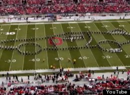 The Ohio State Buckeyes' marching band makes a DeLorean on the field during halftime Oct. 19.