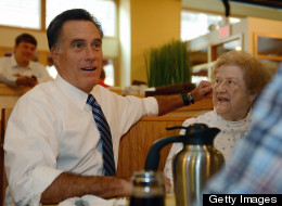 U.S. Republican presidential nominee Mitt Romney pays a visit to First Watch cafe in Cincinnati, Ohio, October 25, 2012. (EMMANUEL DUNAND/AFP/Getty Images)
