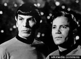 Two physicists from NYU have proposed how a working tractor beam might be assembled. This is a publicity photo of Leonard Nimoy and William Shatner as Mr. Spock and Captain Kirk from the television program