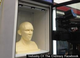 The presidential butter bust was unveiled Friday in Chicago's Loop.