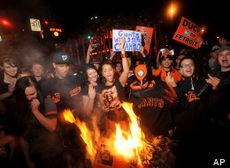 San Francisco Giants fans celebrate outside PacBell Park on Sunday, Oct. 28, 2012, in San Francisco after the Giants swept baseball's World Series against the Detroit Tigers.