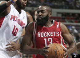 Houston Rockets guard James Harden (13) drives to the basket against Detroit Pistons center Greg Monroe (10) duringg the first half of an NBA basketball game Wednesday, Oct. 31, 2012, in Detroit.