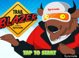 Syncrude, one of Canada's largest producers of oil from Alberta's oilsands, has launched Trail Blazer, a Mario Brothers-type side-scrolling video game app for the iPhone in which the main character, a buffalo, bikes, snowboards and hang-glides his way past northern Alberta landmarks.