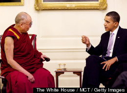 President Barack Obama meets with His Holiness the Dalai Lama in the Map Room of the White House, February 18, 2010. (Pete Souza, The White House / MCT / Getty Images)