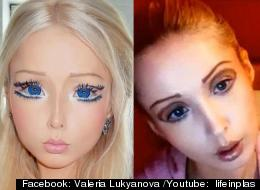Valeria Lukyanova in a photo posted on Facebook (left) and in a video uploaded to YouTube
