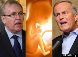 A new poll from Forum Research shows a spike in support for unrestricted abortion in Canada in the wake of MP Stephen Woodworth's (left) motion to study the definition of human life and outgoing U.S. Republican representative Todd Akin's (right) controversial comments on rape and abortion. (CP/Alamy)