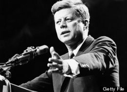 1962: U.S. statesman John F Kennedy, 35th president of the USA, making a speech. (Photo by Central Press/Getty Images)