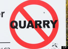 A sign used by Residents of SouthWestern Ontario to protest against a quarry proposed by St. Marys Cement. Similar action groups have formed against a quarry proposed in Melancthon township near Orangeville, Ontario. (CP/Stephen C. Host)