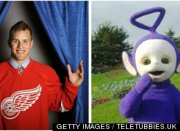 Riley Sheahan was arrested in Grand Rapids, Mich. on Oct. 29 dressed in a purple Teletubby costume (Photo: Getty Images/Teletubbies.uk)