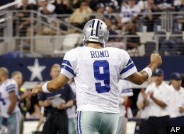 Dallas Cowboys quarterback Tony Romo (9) celebrates a touchdown by DeMarco Murray against the Philadelphia Eagles during the first half of an NFL football game, Sunday, Dec. 2, 2012, in Arlington, Texas.