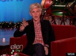 'Ellen' mocked WGN's fake plane crash report on her show Tuesday. (WGN broadcast)