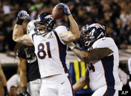 Denver Broncos tight end Joel Dreessen (81) reacts after scoring a touchdown on a 6-yard pass from quarterback Peyton Manning during the first quarter of an NFL football game against the Oakland Raiders in Oakland, Calif., Thursday, Dec. 6, 2012.