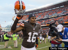 Wide receiver Josh Cribbs #16 of the Cleveland Browns celebrates after the Browns defeated the Steelers at Cleveland Browns Stadium on November 25, 2012 in Cleveland, Ohio.