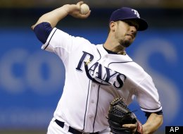Tampa Bay Rays starting pitcher James Shields delivers to the Baltimore Orioles during the first inning of a baseball game, Tuesday, Oct. 2, 2012, in St. Petersburg, Fla. (AP Photo/Chris O'Meara)