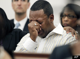 A relative of James Craig Anderson cries at the hate crime and murder trial of Deryl Dedmon. Dedmon was sentenced to two life terms for running down Anderson in 2011 in MIssissippi.