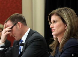 Defence Minister Peter MacKay (left) and Public Works Minister Rona Ambrose (right) take part in a news conference on a report regarding the purchase of the F-35 fighter jets on Parliament Hill in Ottawa on Dec. 12. THE CANADIAN PRESS/Fred Chartrand