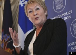Pauline Marois, Premier of Quebec, delivers the keynote address at the Foriegn Policy Association luncheon on Thursday, Dec. 13, 2012, in New York. (AP Photo/Bebeto Matthews)
