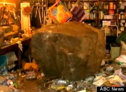 This boulder, estimated at 12 tons, rolled into the home of Ja'Nielle Gendelman on Thursday. Now, she's trying to figure out how to get it out.