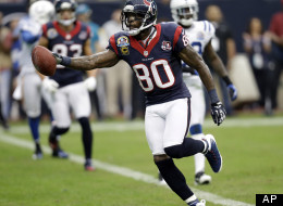 Houston Texans wide receiver Andre Johnson (80) runs into the end zone for a touchdown after catching a pass against the Indianapolis Colts in the first quarter of an NFL football game on Sunday, Dec. 16, 2012, in Houston. (AP Photo/Eric Gay)