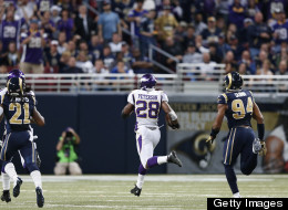 Adrian Peterson of the Minnesota Vikings rushes for an 82-yard touchdown in the first half against the St. Louis Rams during the game at Edward Jones Dome on December 16, 2012 in St. Louis, Missouri. (Photo by Joe Robbins/Getty Images)