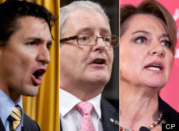 Liberal leadership candidates Justin Trudeau, Marc Garneau and Martha Hall Findlay have all tilted to the right in their campaigns. (CP)