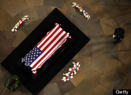 U.S. Senator Daniel Inouye (D-HI) lies in state in the Rotunda of the U.S. Capitol during a service December 20, 2012 on Capitol Hill in Washington, DC. (Photo by Alex Wong/Getty Images)