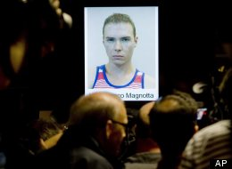 The photograph of Luka Rocco Magnotta, is shown during a news conference in Montreal, Tuesday, June 5, 2012. Magnotta told a judge Tuesday he will not fight his extradition from Germany to Canada, Berlin police say. Magnotta is wanted in Canada on several charges, including first-degree murder, in connection with the killing and dismemberment of Chinese national Jun Lin. (AP Photo/Montreal Police Service via The Canadian Press)
