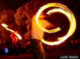 The Full Moon Jam, held on the shores of Lake Michigan, brings a bit of Burning Man to Chicago.