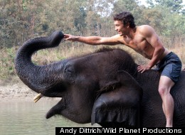 Niall McCann on a domestic elephant in Nepal (Photo by Andy Dittrich, courtesy of Wild Planet Productions)