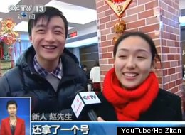 One of the happy Chinese couples who waited in line to get married on Jan. 4, 2013. The pair was among the thousands of couples who flocked to tie the knot on the auspicious