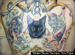 Woman Tattoos Cats On Her Back