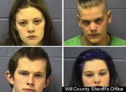 Clockwise from top left: Alisa Massaro, Joshua Miner, Bethany McKee and Adam Landerman. The four Joliet, Ill. young adults have each face six charges of first-degree murder in the deaths of Eric Glover and Terrence O. Rankins.