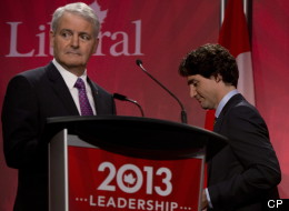 Liberal leadership candidate Marc Garneau looks away following a debate with fellow candidate Justin Trudeau during the federal Liberal debate in Vancouver. (THE CANADIAN PRESS/Jonathan Hayward)